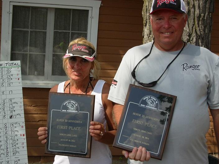 Pat Martin Nasha Martin Super 30 MN North Long Lake Bass Tournament Champions